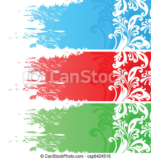 Three floral banners - csp6424516