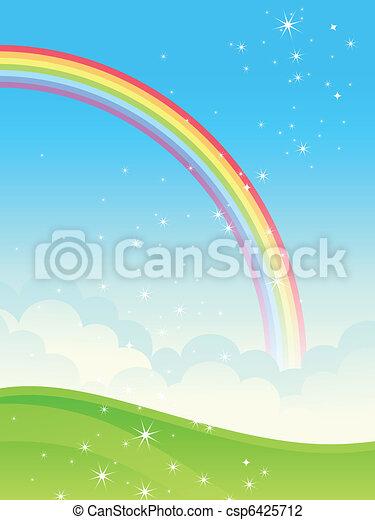 Shiny rainbow landscape. - csp6425712