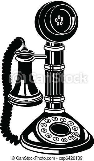 Antique Telephone Or Phone Clip Art - csp6426139