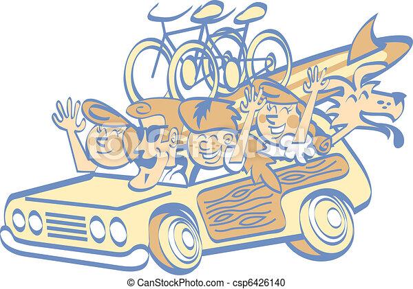 caricatura, familia, en, vacaciones, Clip, arte - csp6426140
