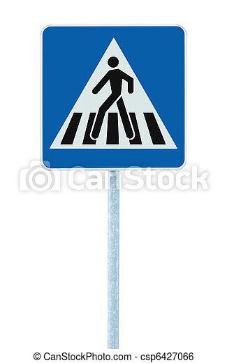 Zebra, cruce, peatón, cruz, advertencia, tráfico, señal, poste - csp6427066