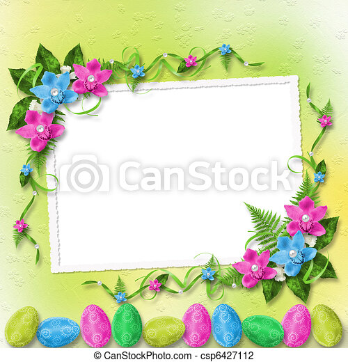 Pastel background with colored eggs and orchids to celebrate Easter - csp6427112