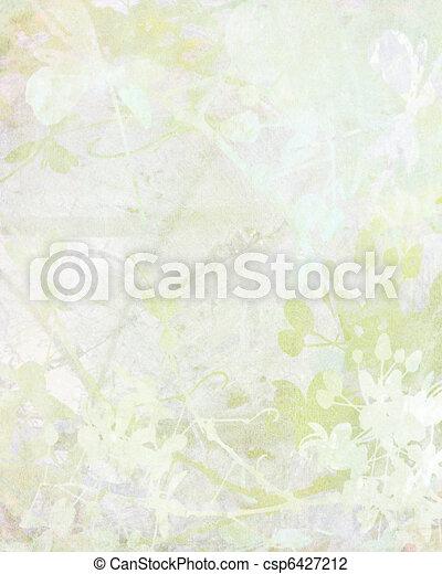 Pale Flower Art on Paper Background - csp6427212