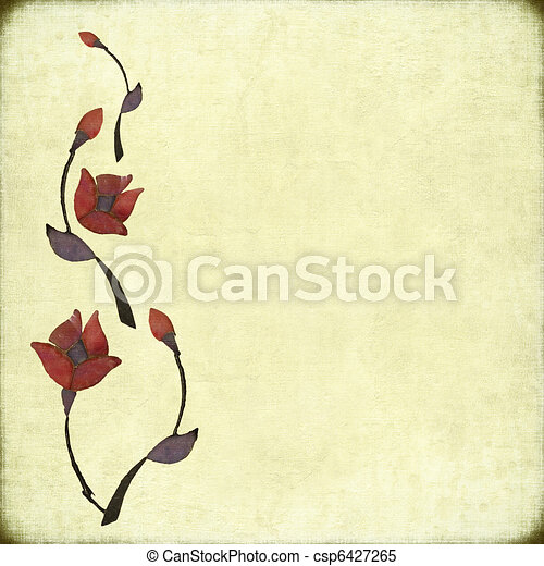 Stone Flower Design on Antique Paper - csp6427265