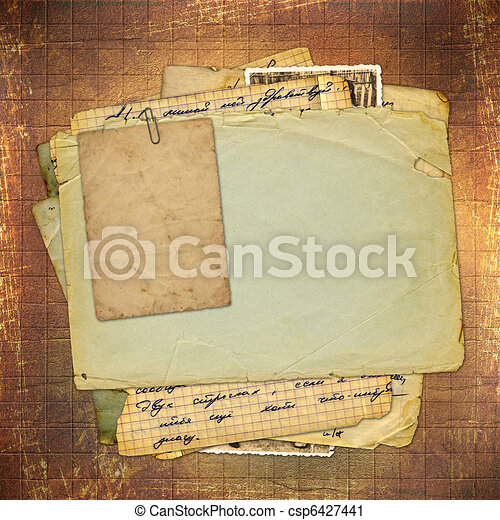Abstract ancient brown background in scrapbooking style  - csp6427441