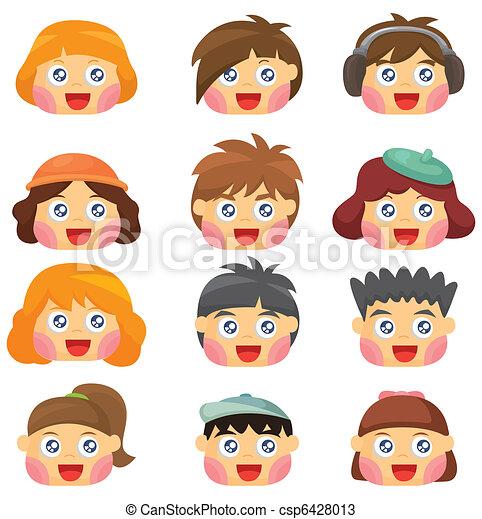 Kids Faces Vector Vector Cartoon Kid Face Icon