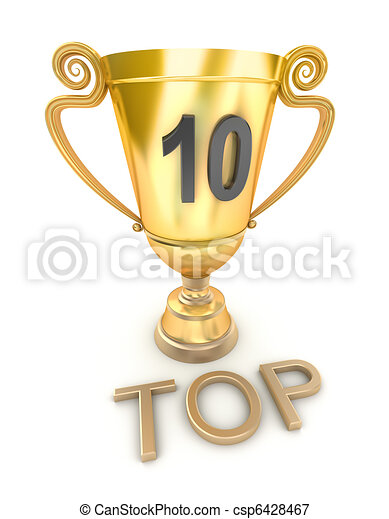 Golden top 10 cup, isolated - csp6428467