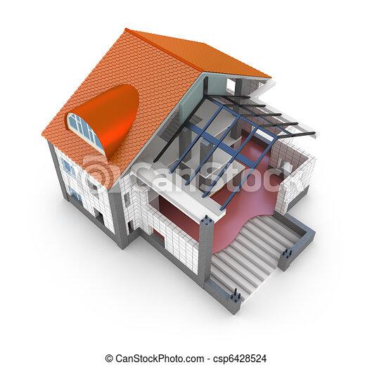 Dessin de architecture plan maison isol sur blanc for Construisez vos propres plans de maison en ligne