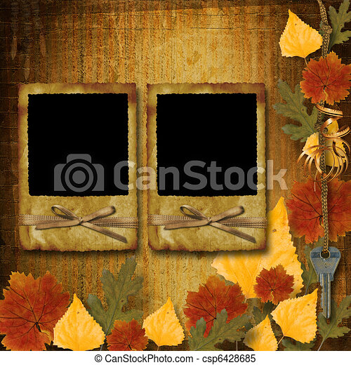 Grunge papers design in scrapbooking style with frame and autumn foliage - csp6428685