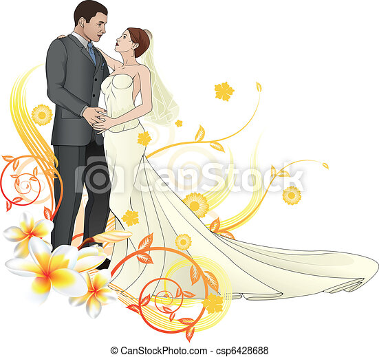 Bride and groom dancing floral background - csp6428688