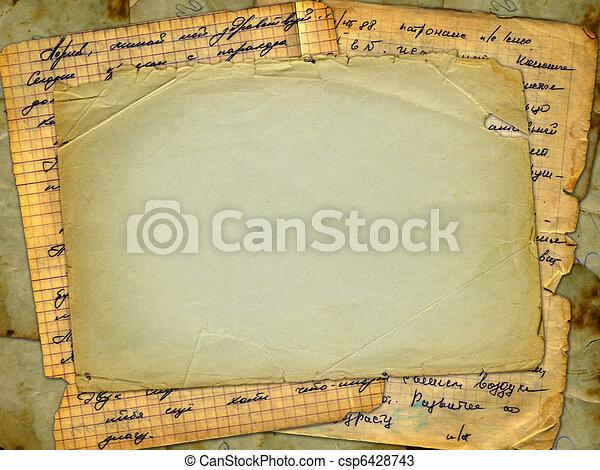 Grunge alienated paper design in scrapbooking style - csp6428743