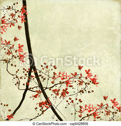 Tangled Blossom Border on Antique Paper - csp6428856