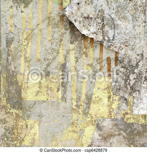 Grunge Wall with Peeled Paper - csp6428879