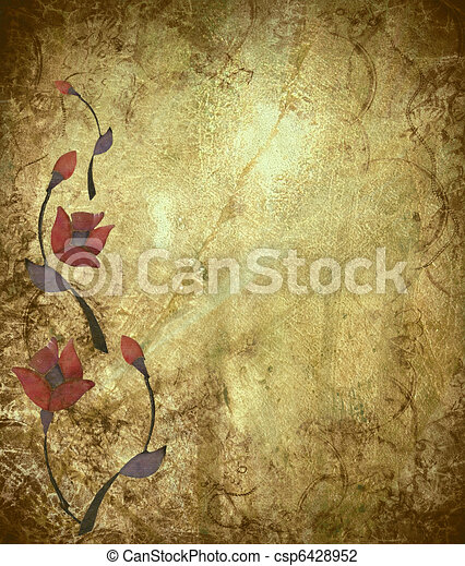 Floral Design on Antique Grunge Background - csp6428952