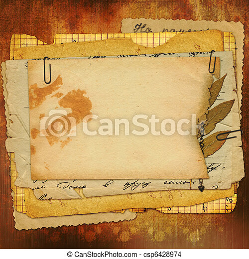 Abstract ancient brown background with set old paper in scrapbooking style - csp6428974