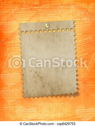old paper frame in scrapbooking style on abstract grunge background - csp6429753