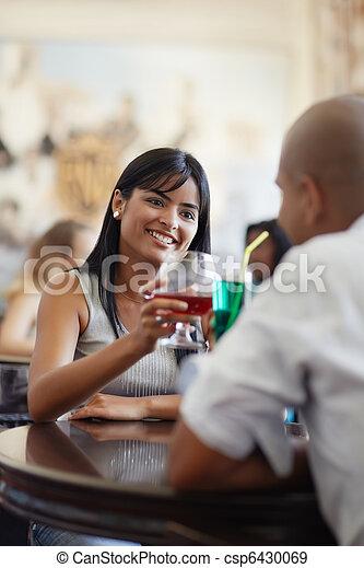man and woman dating at restaurant - csp6430069