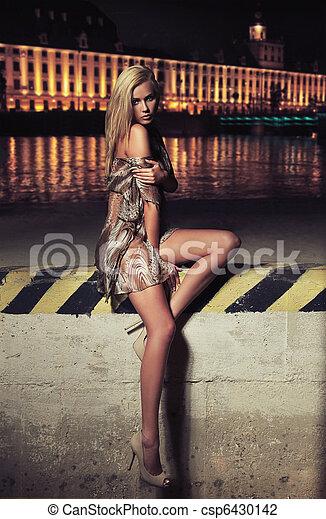 Glamour type photo of cute blonde sitting on the city bridge - csp6430142
