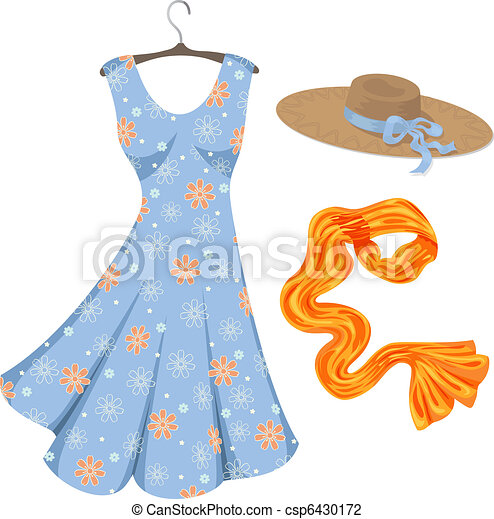 Romantic summer dress and accessories. - csp6430172