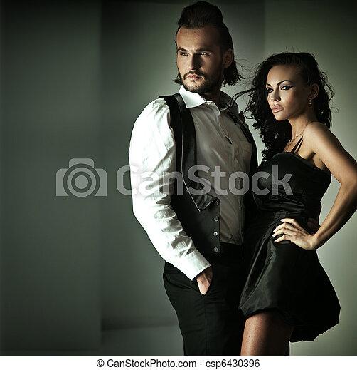 lindo, estilo, Moda, pareja, foto - csp6430396