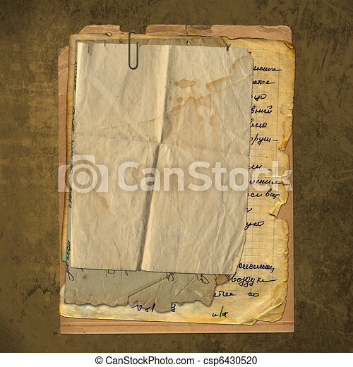 Abstract ancient brown background with set old paper in scrapbooking style - csp6430520
