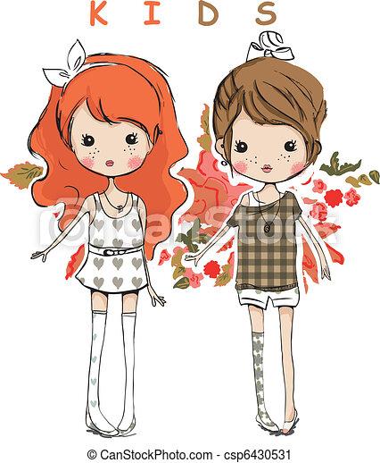 cute lovely friend kids children - csp6430531