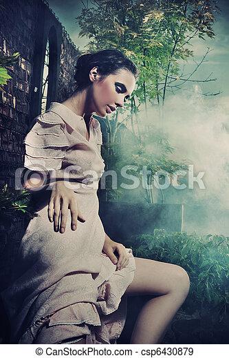 stile, brunetta, bellezza, foto, giovane, fantasia - csp6430879