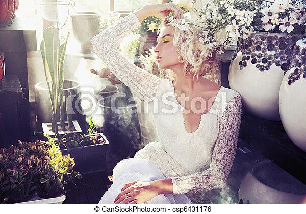 Flower nymph taking sunbath - csp6431176