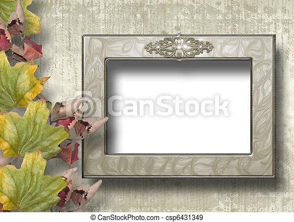 Grunge papers design in scrapbooking style with frame and foliage - csp6431349