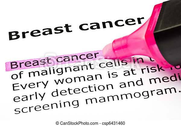 'Breast cancer' highlighted in pink - csp6431460