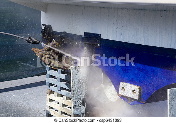 blue boat hull cleaning pressure washer barnacles - csp6431893