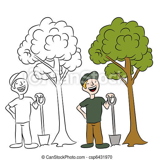 Vector Clipart of Tree Planting Man - An image of a man planting a ...