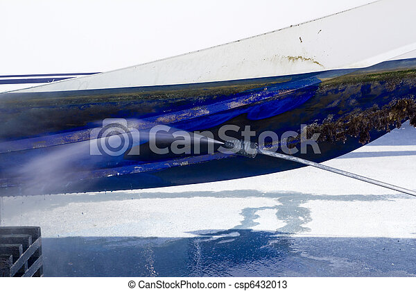 blue boat hull cleaning pressure washer barnacles - csp6432013