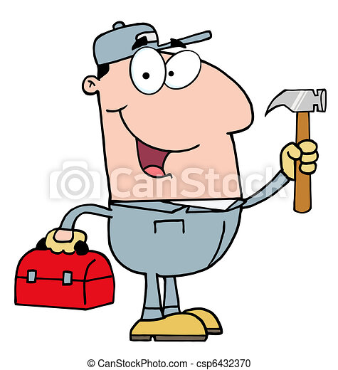 Construction Worker With Hammer  - csp6432370