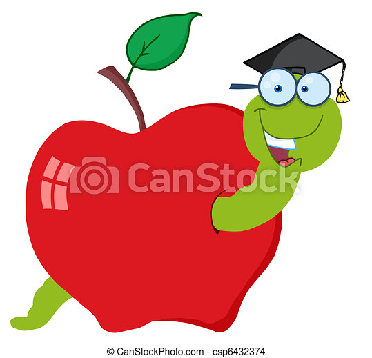 Happy Graduate Worm In Apple - csp6432374