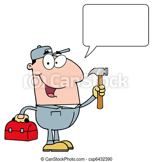 Vector Clipart of Talking Handy Man With Tool Box ...
