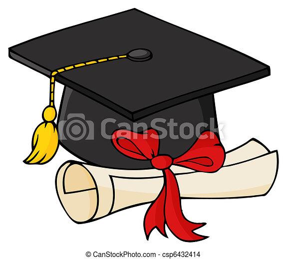 Graduate Black Cap With Diploma - csp6432414