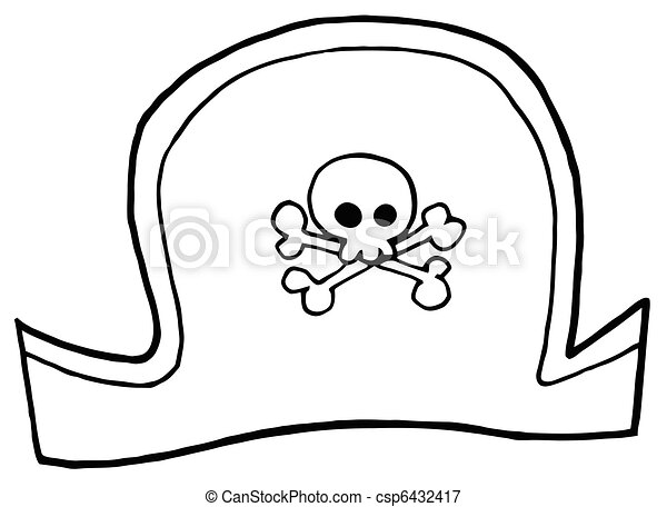 Vectors illustration of pirate hat outlined pirate hat for Pirate hat coloring page