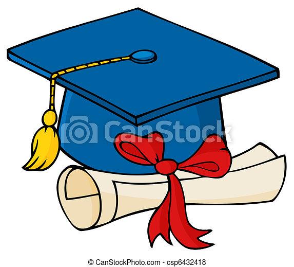 Graduate Blue Cap With Diploma - csp6432418