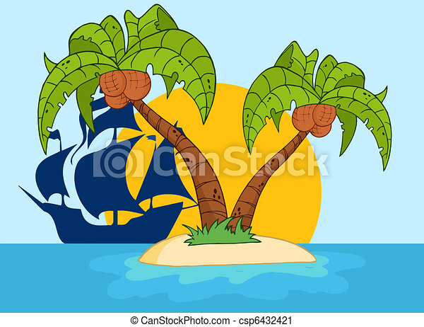 Two Palm Tree And Pirate Ship  - csp6432421