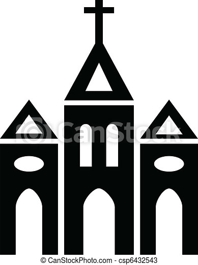 Vectors of Church - Black and white silhouette of Catholic Church ...