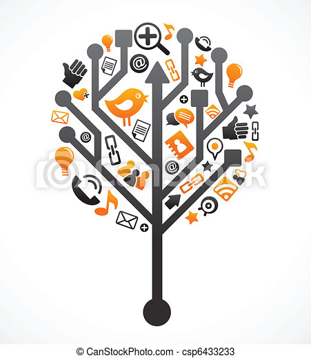 Social network tree with media icons - csp6433233