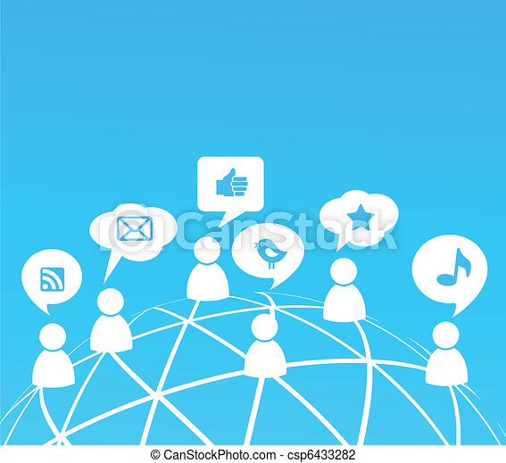 Social network background with media icons - csp6433282