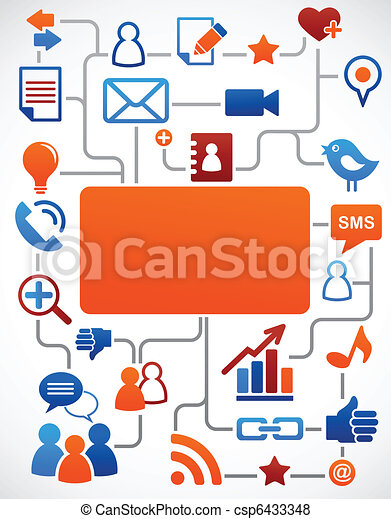 Social network background with media icons - csp6433348