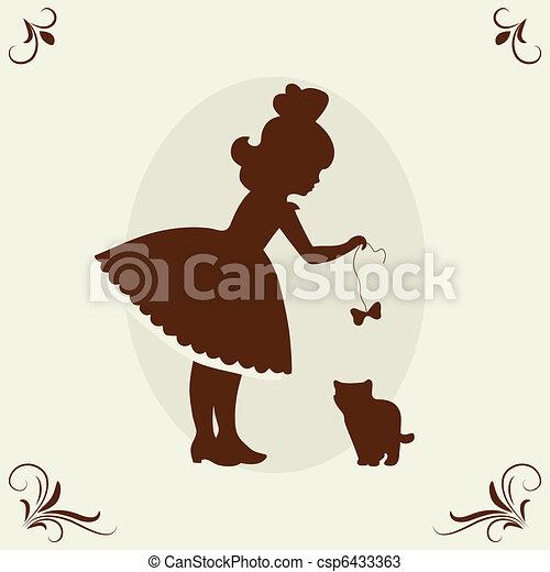 Girl and kitten. - csp6433363