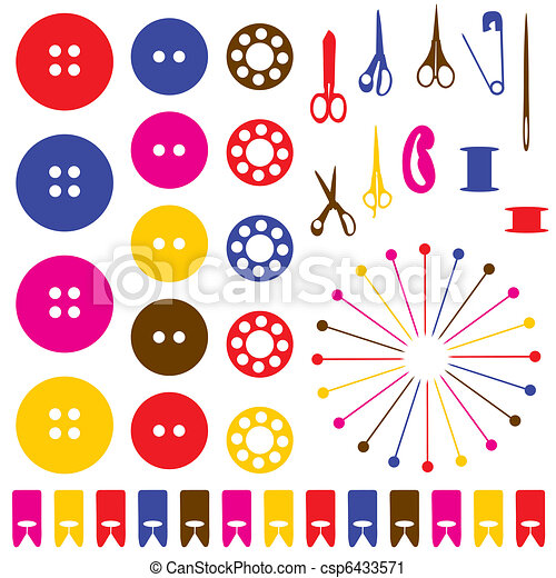 Sewing objects silhouettes set.  - csp6433571
