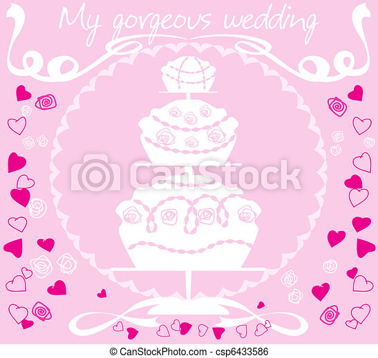 Wedding cake csp6433586 White silhouette of a large wedding cake on a