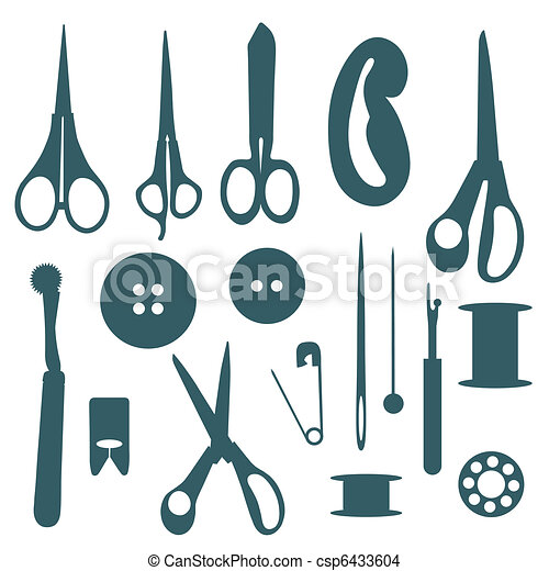 Sewing objects silhouettes set.  - csp6433604