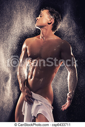 Muscular guy having bath - csp6433711