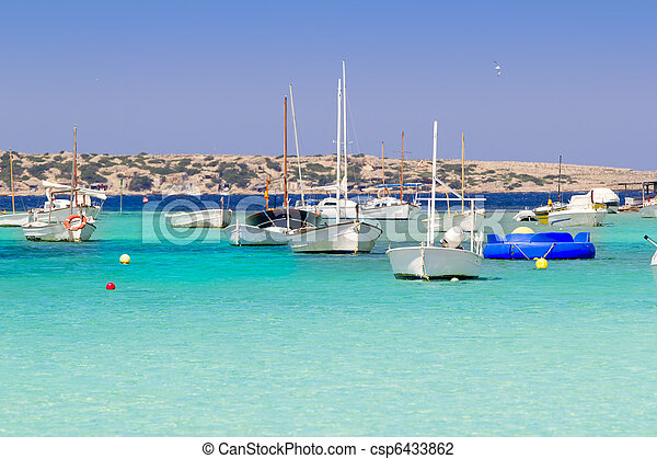 estany des peix in Formentera lake anchor boats - csp6433862